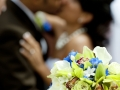bouquet blurred couple